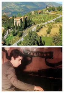 Sopra, Chitignano (Arezzo), paese di origine e, sotto, Ruffini a 20 anni durante un concerto.